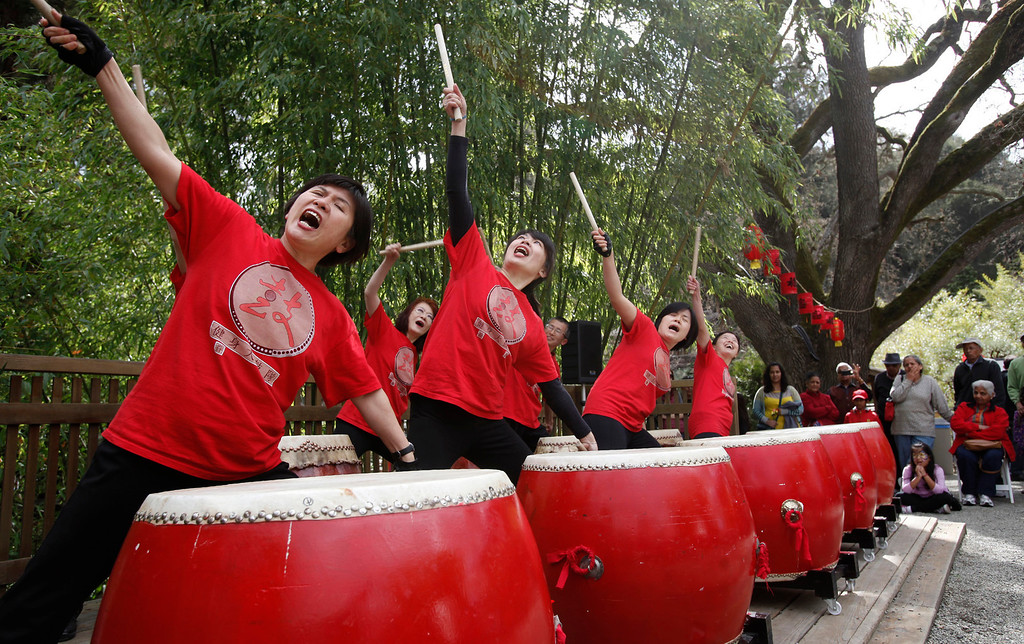 """. The Ladies Drumming Group takes center stage at Hakone Estate and Gardens during a Lunar New Year of the Snake festival with a \""""Chinese Village Fair\"""" on Sunday afternoon, March 3, 2013 in Saratoga, Calif. (Karl Mondon/Staff)"""