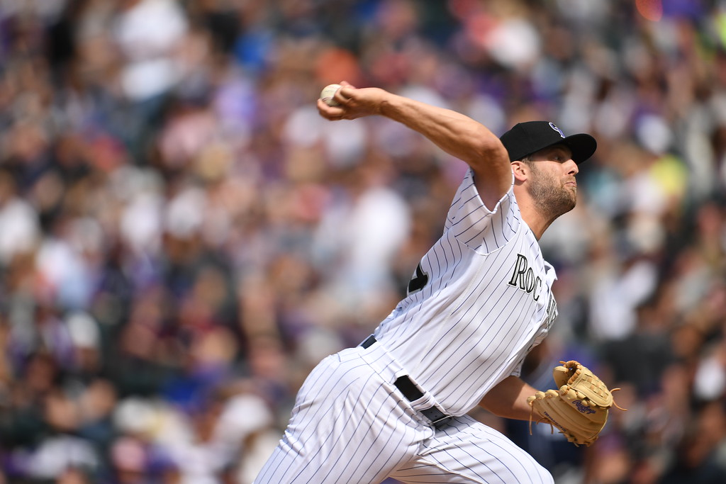 . Jordan Lyles (24) of the Colorado Rockies pitches during the third inning. The Colorado Rockies played the San Diego Padres Friday, April 8, 2016 on opening day at Coors Field in Denver, Colorado. (Photo By RJ Sangosti/The Denver Post)