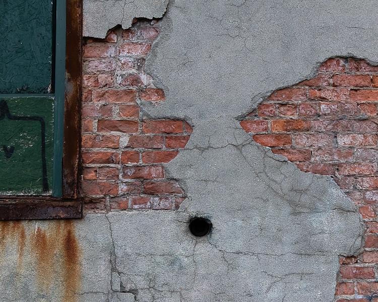 Brick, Stucco, Pipe