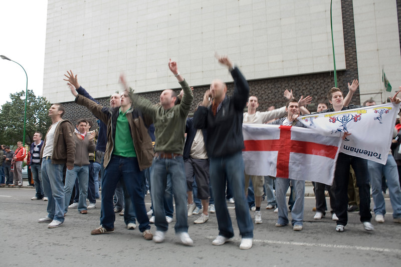 Tottenham fans on tour provoking local fans, Seville, Spain