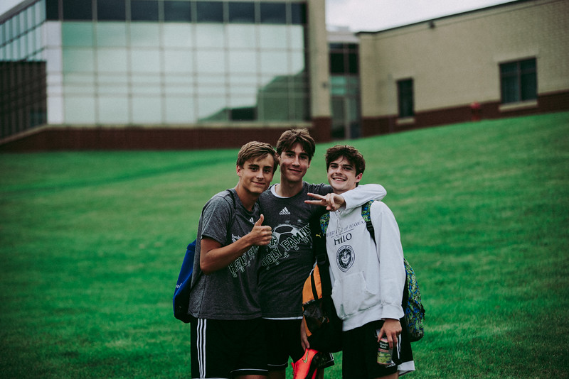 Holy Family Girls Varsity Soccer vs. Glencoe-Silver Lake, 9/24/19: David Torborg '20, Finn Dowling '21, and Dan Parker '20