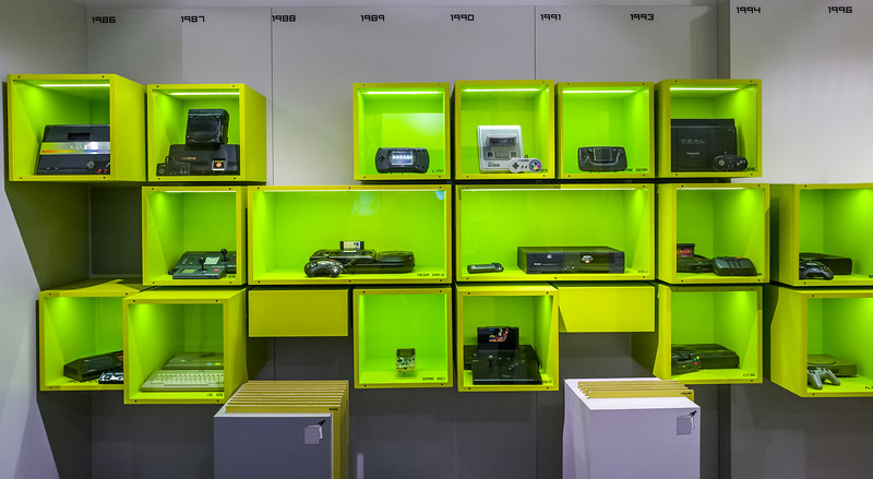 Old gaming systems and consoles in Computerspielemuseum, Berlin