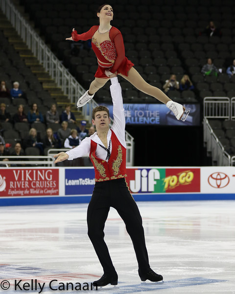 Brandon Frazier lifts partner Haven Denney during their short program at the 2017 US Figure Skating Championships.