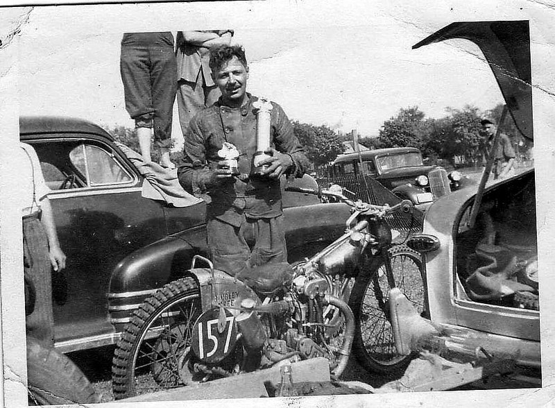 Bingley Cree, 1952 Oshawa 1/2 Mile  Fairgrounds 500cc Canadian Champion 1/2mile Senior class