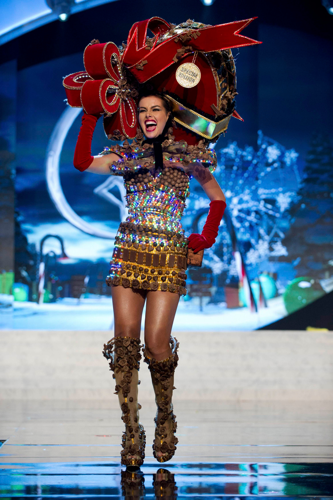 . Miss Venezuela Irene Sofia Esser Quintero performs onstage at the 2012 Miss Universe National Costume Show at PH Live in Las Vegas, Nevada December 14, 2012. The 89 Miss Universe Contestants will compete for the Diamond Nexus Crown on December 19, 2012. REUTERS/Darren Decker/Miss Universe Organization/Handout