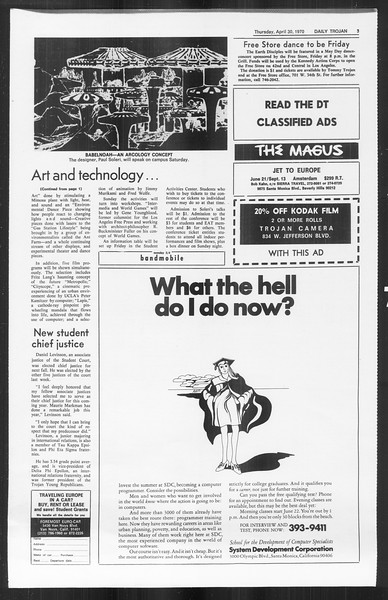 Daily Trojan, Vol. 61, No. 116, April 30, 1970