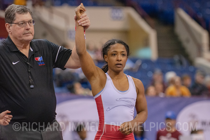 50 kg: Victoria Anthony (Sunkist Kids Wrestling Club) tech. fall Nina Pham (Unattached), 10-0