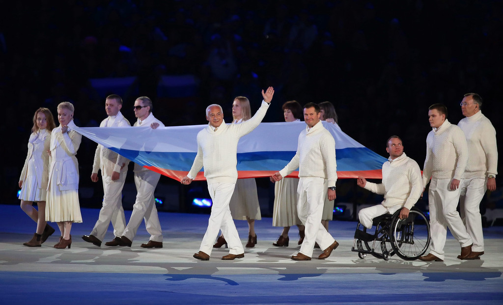 . The Russian national flag is carried during the Opening Ceremony of the Sochi 2014 Winter Paralympic Games at Fisht Olympic Stadium in Sochi, Russia, 07 March 2014.  EPA/SERGEI CHIRIKOV