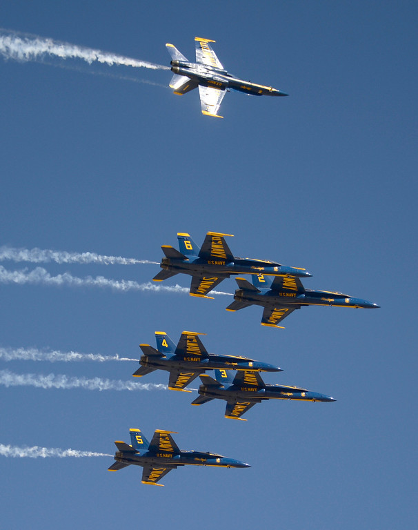 . March 19,2014. Lancaster CA.  The US Navy Blue Angels make a flyby as they arrive at Fox field Wednesday morning. The Los Angels County air show with the Blue Angels will happen this Friday and Saturday at Fox Field.  Photo   by Gene Blevins/LA DailyNews