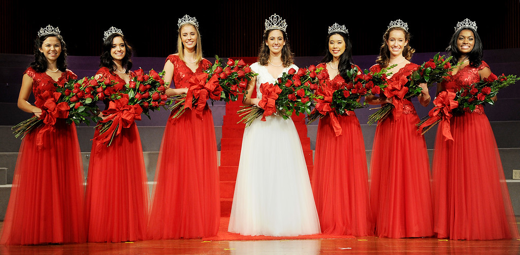 . Royal Court Jamie Ann Kwong, left, Sarah Elizabeth Hansen, Katherine Diane Lipp, 96th Rose Queen Ana Marie Acosta, Elyssia Hadi Widjaja, Elizabeth Katie Woolf, Kayla Diyana Johnson-Granberry.Announcement and Coronation of the 96th Rose Queen and Presentation of the 2014 Royal Court held at First Church of the Nazarene of PasadenaThursday, October 24, 2013. (Photo by Walt Mancini/Pasadena Star-News)