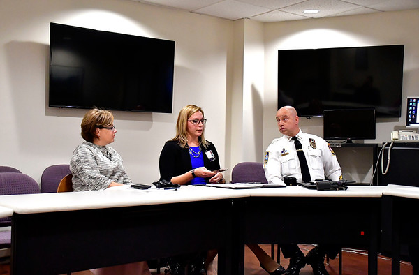 11/14/2019 Mike Orazzi | Staff Bristol Mayor Ellen Zoppo-Sassu, Bristol Health Counseling Center's Lisa Coates and Bristol Police Chief Brian Gould during a C.O.B.R.A meeting at Bristol Hospital on Thursday.