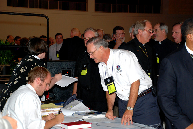 Bishops from Synods taking votes.