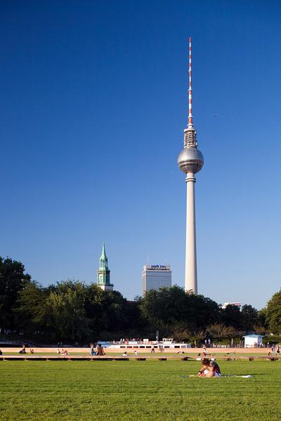 TV Tower, Marienkirche tower and Park Inn Hotel as seen from Schossplatz park, Berlin, Germany