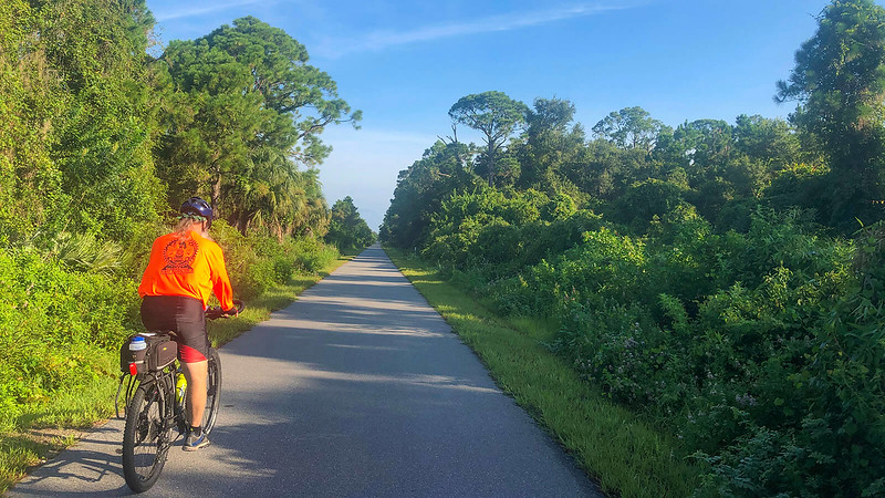 Biking the Brevard Coast to Coast near Mims