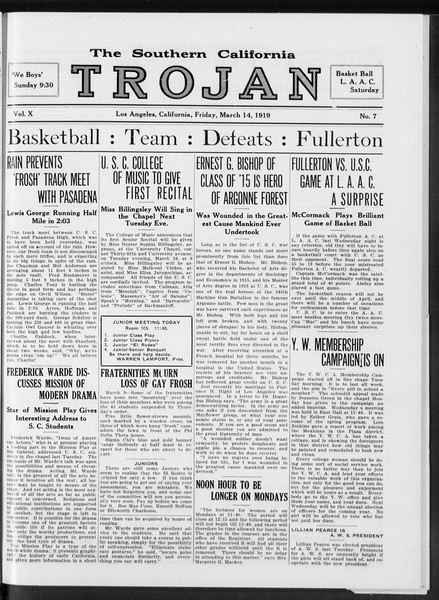 The Southern California Trojan, Vol. 10, No. 7, March 14, 1919