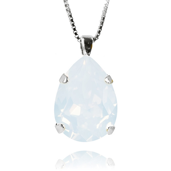 Classic Drop Necklace / White Opal Rhodium