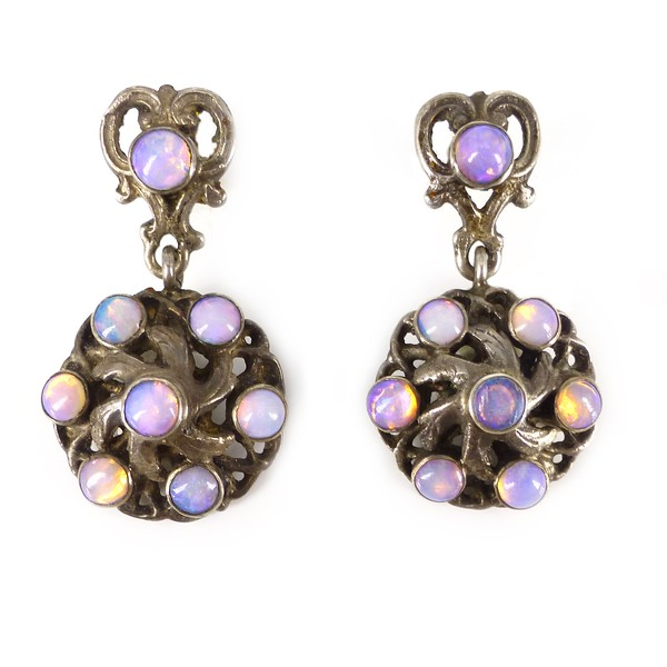 Antique Austro Hungarian Silver Opal Drop Earrings