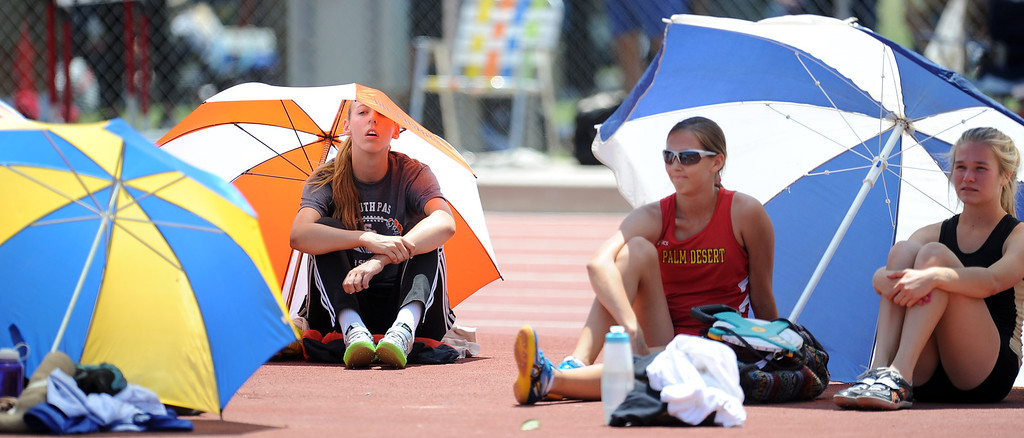 ". South Pasadena\'s Claire Kieffer-Wright takes a break prior to winning the high jump at 5\'11"" during the CIF-SS track & Field championship finals in Hilmer Stadium on the campus of Mt. San Antonio College on Saturday, May 18, 2013 in Walnut, Calif.  (Keith Birmingham Pasadena Star-News)"