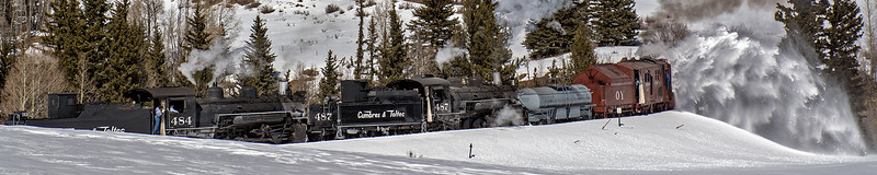 February 29, 2020.   The rotary train plows right up to Lobato trestle.  The two engines will separate and the lead engine will push the rotary across, and then the second engine will cross behind it before recouping to continue on.