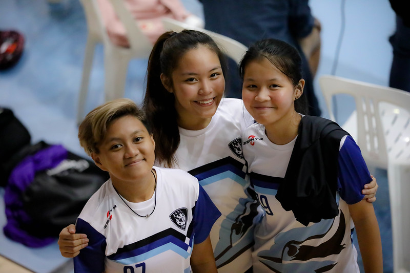 Players posing after the match during Getactive floorball at One Tampines Hub at Tampines, Singapore on 27th July 2018. Photo by Sanketa Anand/Sport Singapore