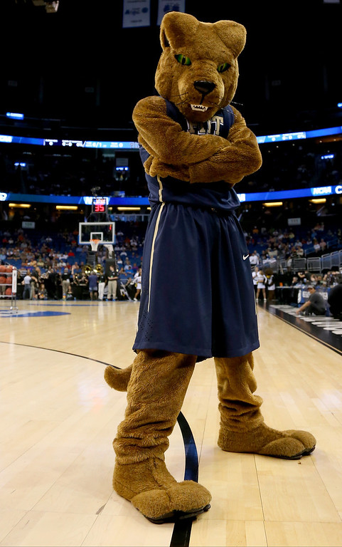 . The Pittsburgh Panthers mascot poses before the Panthers take on the Colorado Buffaloes during the second round of the 2014 NCAA Men\'s Basketball Tournament at Amway Center on March 20, 2014 in Orlando, Florida.  (Photo by Mike Ehrmann/Getty Images)