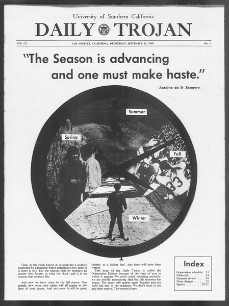 Daily Trojan, Vol. 60, No. 1, September 11, 1968