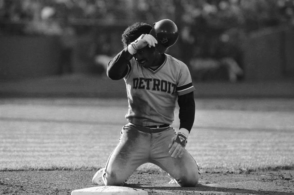 . Detroit Tigers Chet Lemon wipes dirt and sweat from his face after being picked off at first by San Diego Padres Steve Garvey in the second inning of the NLs 3-1 victory over the AL in the All-Star game played, July 11, 1984, San Francisco, Calif. (AP Photo/Eric Risberg)