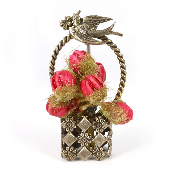 Vintage French 1940s Hand Made Floral Basket & Bird Brooch