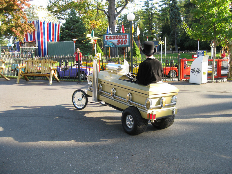 There was this cool coffin car driving around on the midway.