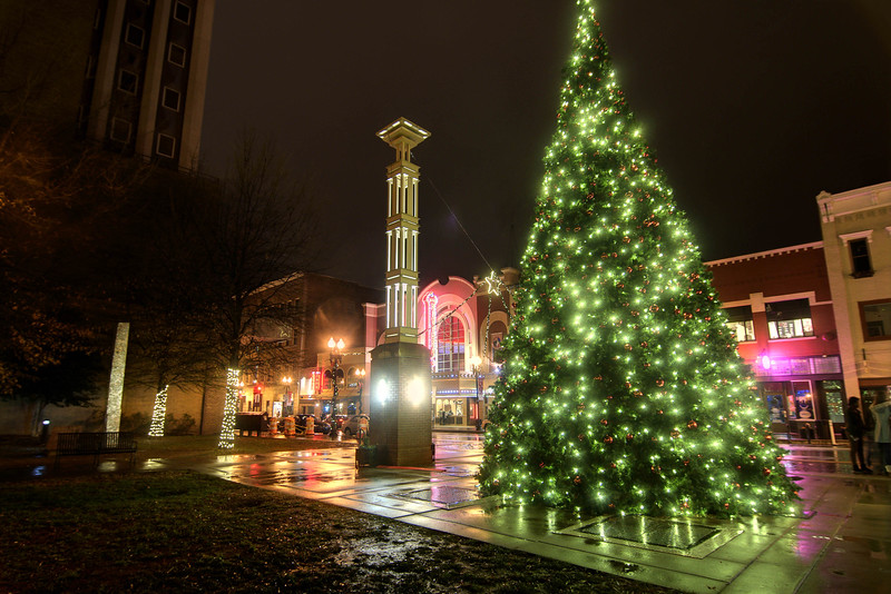 A massive Christmas tree along Gay Street in Knoxville, TN on Monday, December 15, 2014. Copyright 2014 Jason Barnette