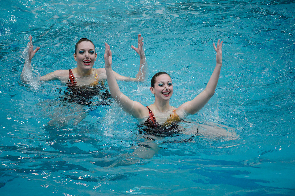 . THORNTON, CO. - MARCH 10: Menomonee Falls Dolphinettes duet team  Emily Emanuelle and Anna Goetze perform during the duet free at The Rocky Mountain Synchronized Swimming North Zones Championships  March 10, 2013 at Veterans Memorial Aquatic Center. (Photo By John Leyba/The Denver Post)