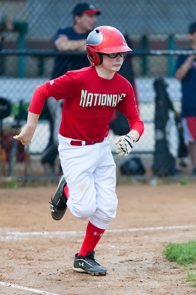 Christopher drives the ball up the middle to the center field fence for a RBI triple in the top of the 4th inning. Nats lead 6-2. The Nationals played well both offensively and defensively, and won 10-3 over the Braves. They are now 5-3 for the season. 2012 Arlington Little League Baseball, Majors Division. Nationals vs Braves (08 May 2012) (Image taken by Patrick R. Kane on 08 May 2012 with Canon EOS-1D Mark III at ISO 3200, f2.8, 1/1000 sec and 200mm)