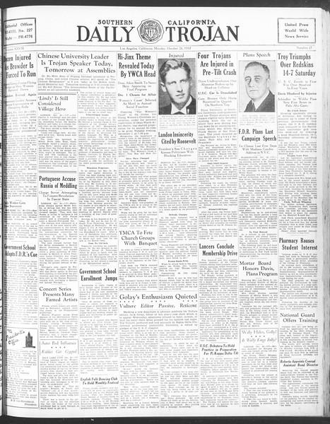 Daily Trojan, Vol. 28, No. 27, October 26, 1936