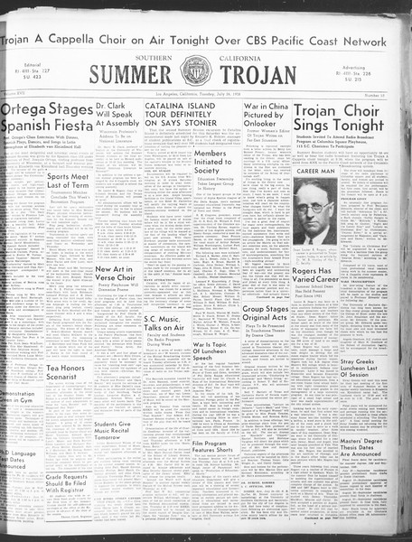 Summer Trojan, Vol. 17, No. 10, July 26, 1938