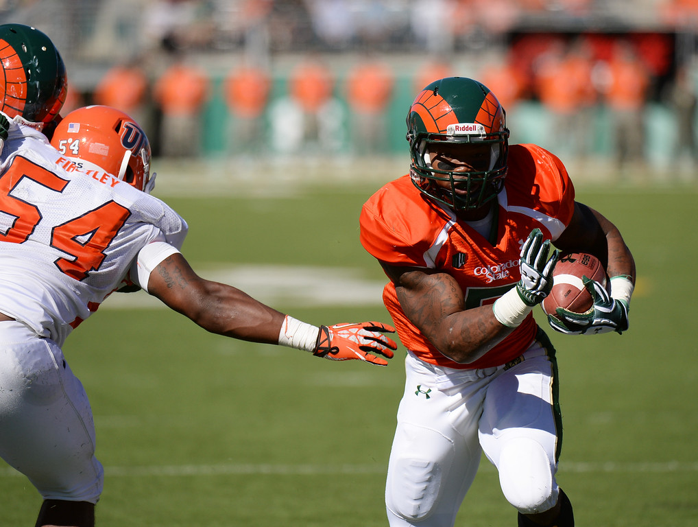 . FORT COLLINS, CO - September 28 : RB Kapri Bibbs of Colorado State University (5) rushes for a touchdown in the 2nd quarter of the game against University of Texas at El Paso at Hughes Stadium. Fort Collins, Colorado. September 28, 2013. (Photo by Hyoung Chang/The Denver Post)