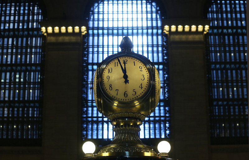 . The clock above the Grand Central Terminal Information Booth, with faces made of opal, ticks on the day before the famed Manhattan transit hub turns 100 years old on January 31, 2013 in New York City. The terminal opened in 1913 and is the world\'s largest terminal covering 49 acres with 33 miles of track. Each day 700,000 people pass through the terminal where Metro-North Railroad operates 700 trains per day.  (Photo by Mario Tama/Getty Images)