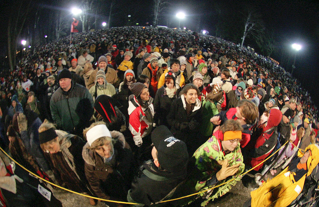 . A crowd that Groundhog Club members said was the second largest crowd ever for Ground Hog\'s Day, is shown through a fisheye lens in Punxsutawney, Pa. on Saturday, Feb. 2, 2008. The Groundhog Club said Phil saw his shadow and predicted six more weeks of winter. (AP Photo/Keith Srakocic)