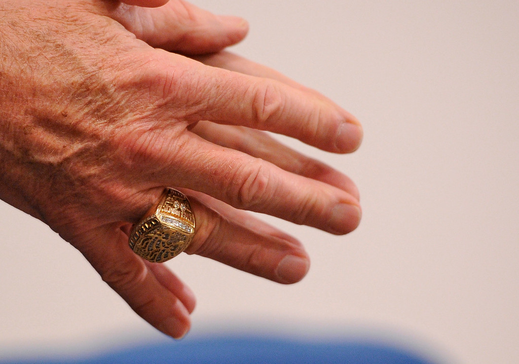 . The Denver Broncos owner Pat Bowlen wears his super bowl ring on Wednesday January 5, 2011 when he named two-time Super Bowl champion and Pro Football Hall of Fame quarterback John Elway as Executive Vice President of Football Operations and appointed Joe Ellis as President, himself at Dove Valley. John Leyba, The Denver Post
