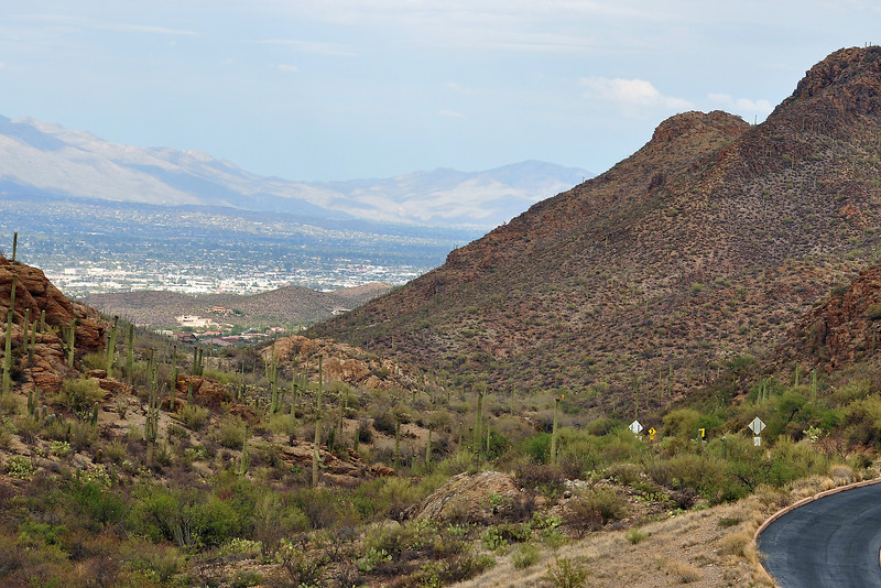 The top of Gates Pass road looking down into Tucson (East).