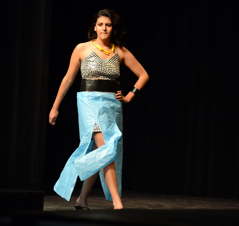 . Ale Velez won the prize of most individual at the third annual Paper Skirt Fashion Show held at Liberty High School in Brentwood, Calif.  on Tuesday, Jan. 29, 2013. (Susan Tripp Pollard/Staff)