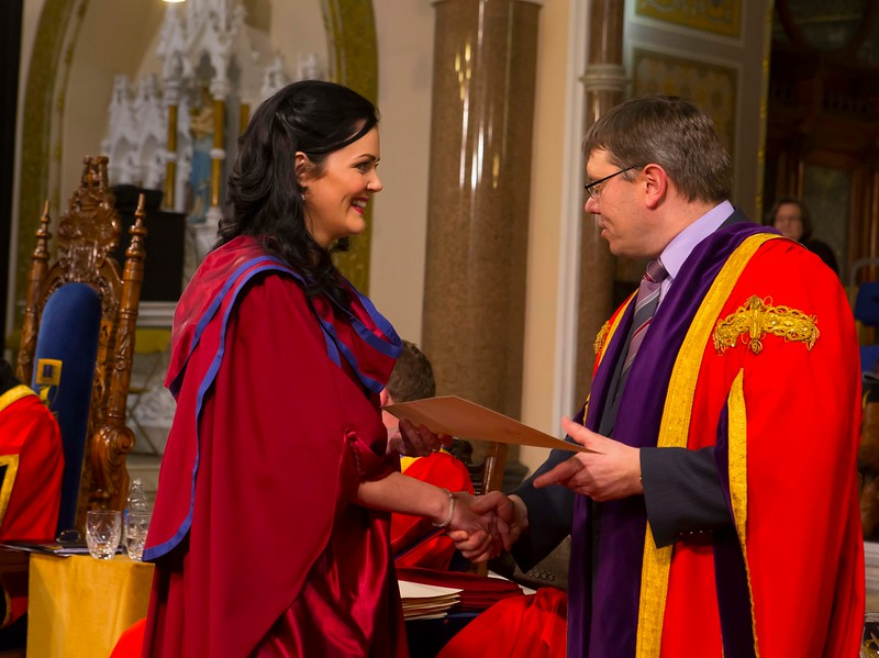 Waterford Institute Of Technology Conferring. Pictured at WIT Waterford Institute Of Technology Conferring is Gemma McCarthy, Waterford who was conferred a Doctor of Philosophy from Dr. Ruaidhrí Neavyn, President, WIT. Picture: Patrick Browne