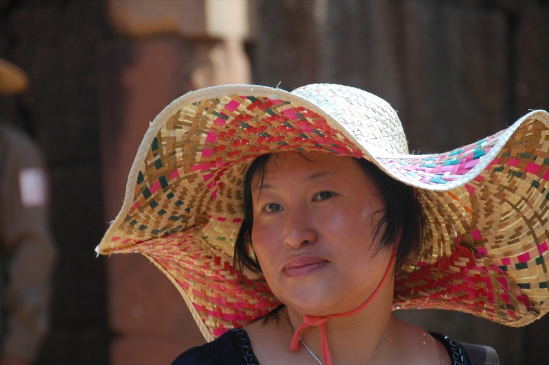 Woman with a Wide-Brimmed Hat - Angkor, Cambodia