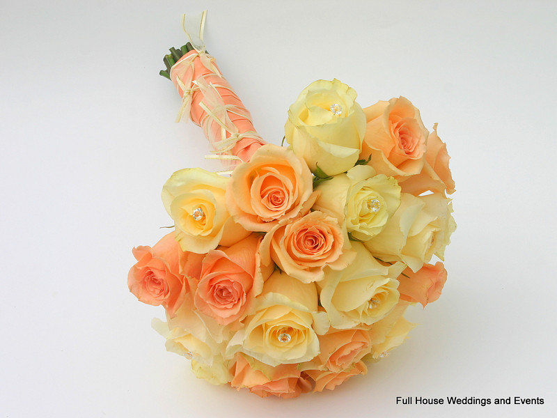 Peaches and Cream Bouquet - peach versillia roses and ivory creme de la creme roses.