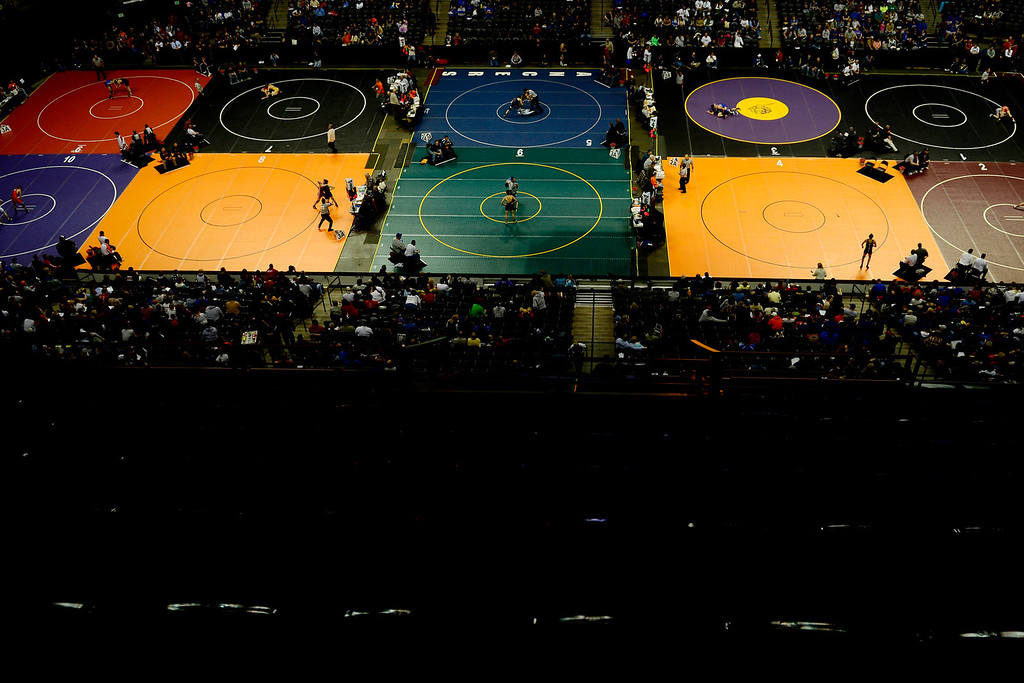 . DENVER, CO - FEBRUARY 21: . 2A and 3A wrestlers compete during the Colorado State High School Wrestling Championships. The state finals will run through Saturday evening at the Pepsi Center. (Photo by AAron Ontiveroz/The Denver Post)