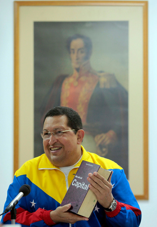 . Handout photo released by the Venezuelan Presidency of Venezuelan President Hugo Chavez (C) speaking during a TV program in Havana on March 11, 2012. Chavez is recovering from a recent cancer surgery and a new round of chemotherapy in Cuba. HO/AFP/Getty Images