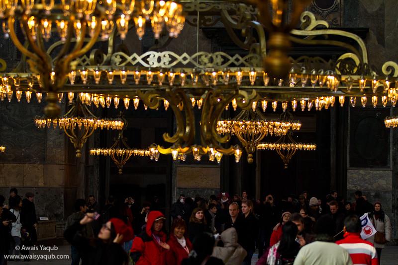 Low hanging Chandeliers of Hagia Sophia