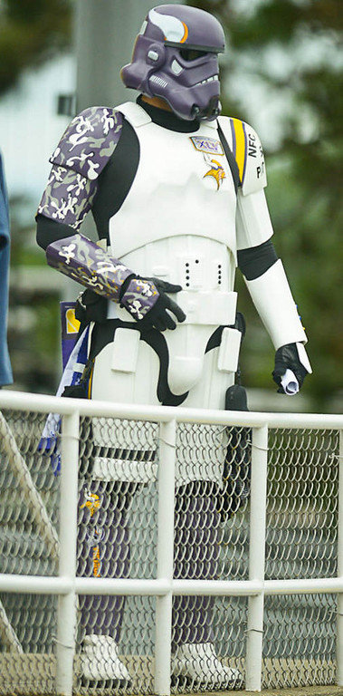 . A Vikings\' fan wears a  Star Wars-inspired outfit for Friday morning\'s workout. (Pioneer Press: Ben Garvin)