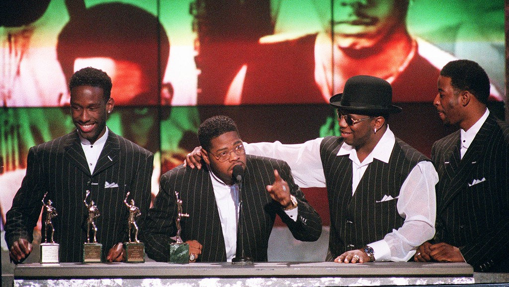 . Members of the group Boyz II Men, from left, Shawn Stockman, Michael McCary, Wanya Morris and Nate Morris, accept the Sammy Davis Jr. award for Entertainers of the Year at the Soul Train Awards at the Shrine Auditorium in Los Angeles, Friday, March 29, 1996. (AP Photo/Mark J. Terrill)