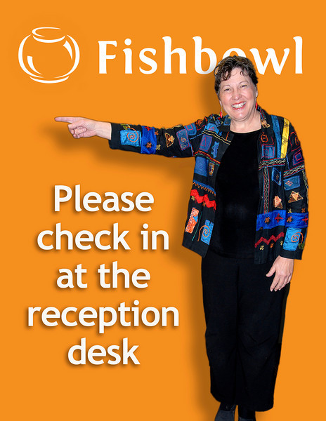 2011/3/24 – I needed to make a sign at work to direct traffic to the reception desk. Marilyn is our receptionist so I had her pose for a picture, dropped out the background and put in the orange with the company logo. A fun simple project that let me practice my skills with Photoshop.