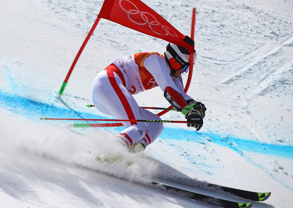 . Austria\'s Stefan Brennsteiner crashes in the second run of the men\'s giant slalom at the 2018 Winter Olympics in Pyeongchang, South Korea, Sunday, Feb. 18, 2018. (AP Photo/Alessandro Trovati)